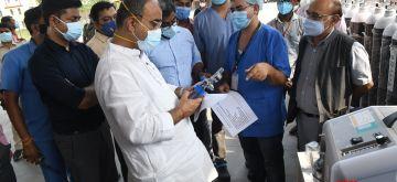 Patna : Health Minister Mangal Panda by inaugurating 24-hour Vivasan at Patliputra Sports Complex in Patna on Tuesday 08 June 2021. (Photo:  Indrajit Dey/ IANS)
