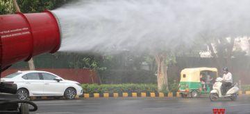 New Delhi:  New Delhi Municipal Council (NDMC) installed Anti Smog Gun for sanitizing at Mahadev Road in New Delhi on Thursday 10 June 2021. (Photo: Qamar Sibtain/ IANS)