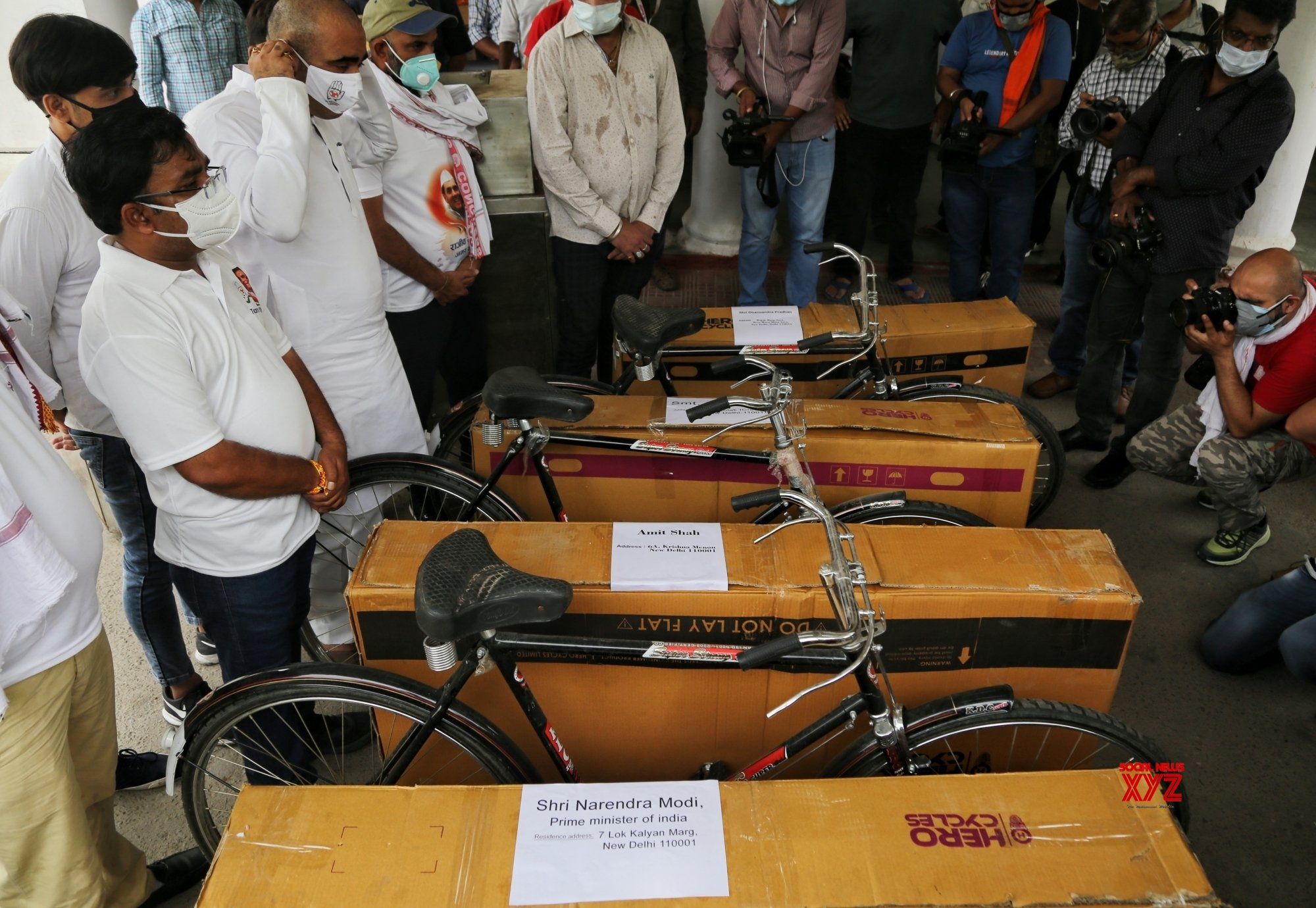 New Delhi : Indian Youth Congress (IYC) sent Bicycle for PM Modi and Cabinate Ministers against price hike on Petrol and Diesel at IYC office in New Delhi. #Gallery