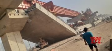 Three injured as under-construction flyover collapses on Dwarka Expressway.