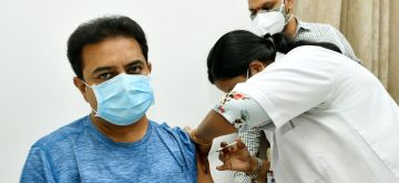 Hyderabad:  Industries Minister KT Rama Rao got the first dose of Covid vaccine in Hyderabad,  on Tuesady, July 20, 2021. (Photo: IANS)