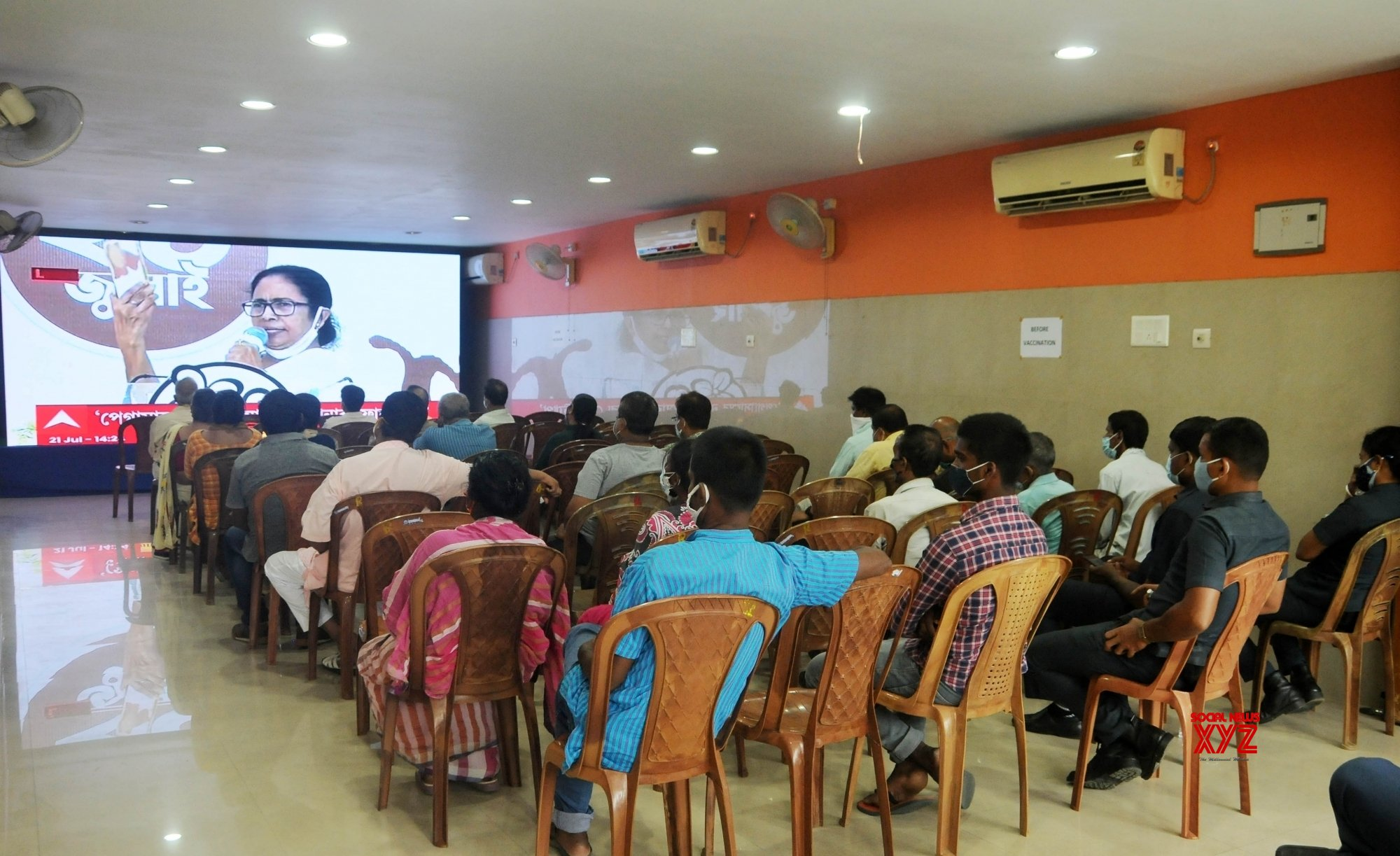 Kolkata: TMC supporters watching on big screen at various places in City, TMC supremo and West Bengal Chief Minister Mamata Banerjee's virtual meeting on the occasion of 21 July TMC Martyrs day observation in Kolkata #Gallery