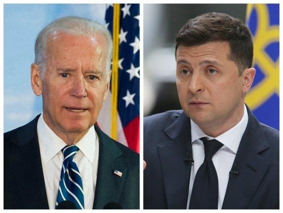 Combo photo of U.S. President Joe Biden (L) and Ukrainian President Volodymyr Zelensky #Gallery