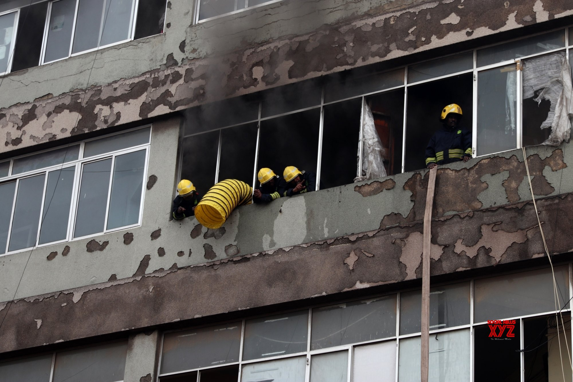 Chennai: Firefighter tries to put down the fire at a private complex in chennai. #Gallery