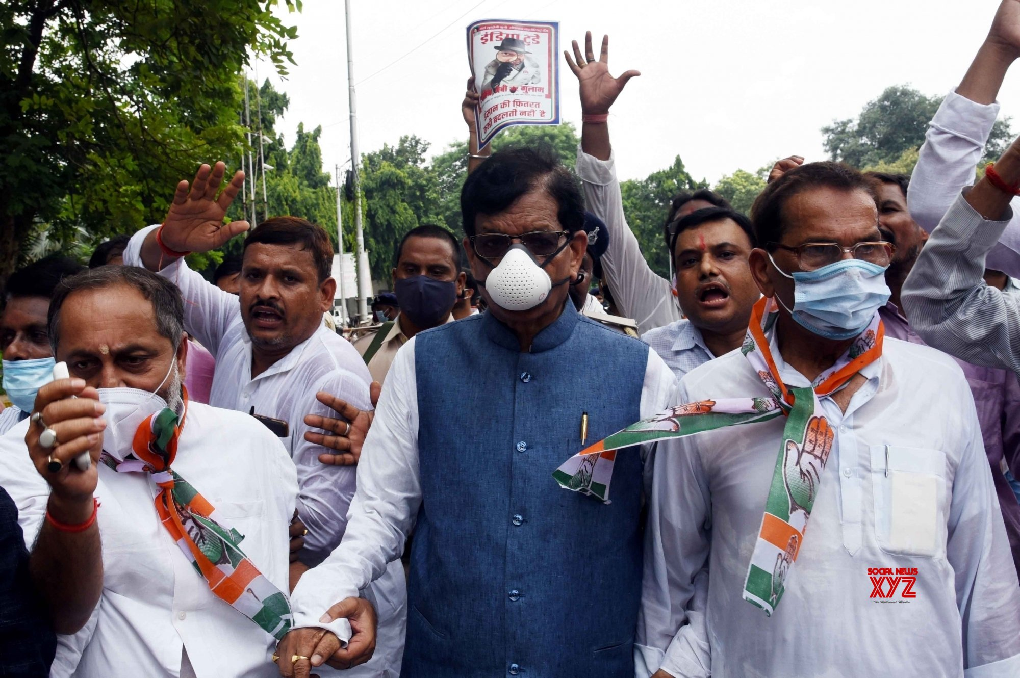 Patna: Bihar Congress president Madan Mohan Jha along with party supporters takeout Raj Bhavan protest march over the Pegasus Project issue, in Patna. #Gallery