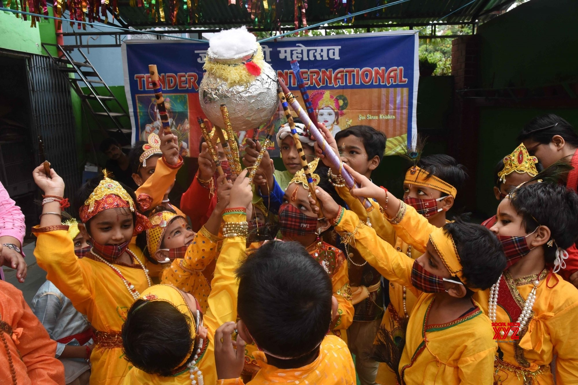 Patna: Students dressed as Lord Krishna at their school on the eve of Janmashtami celebrations in Patna #Gallery