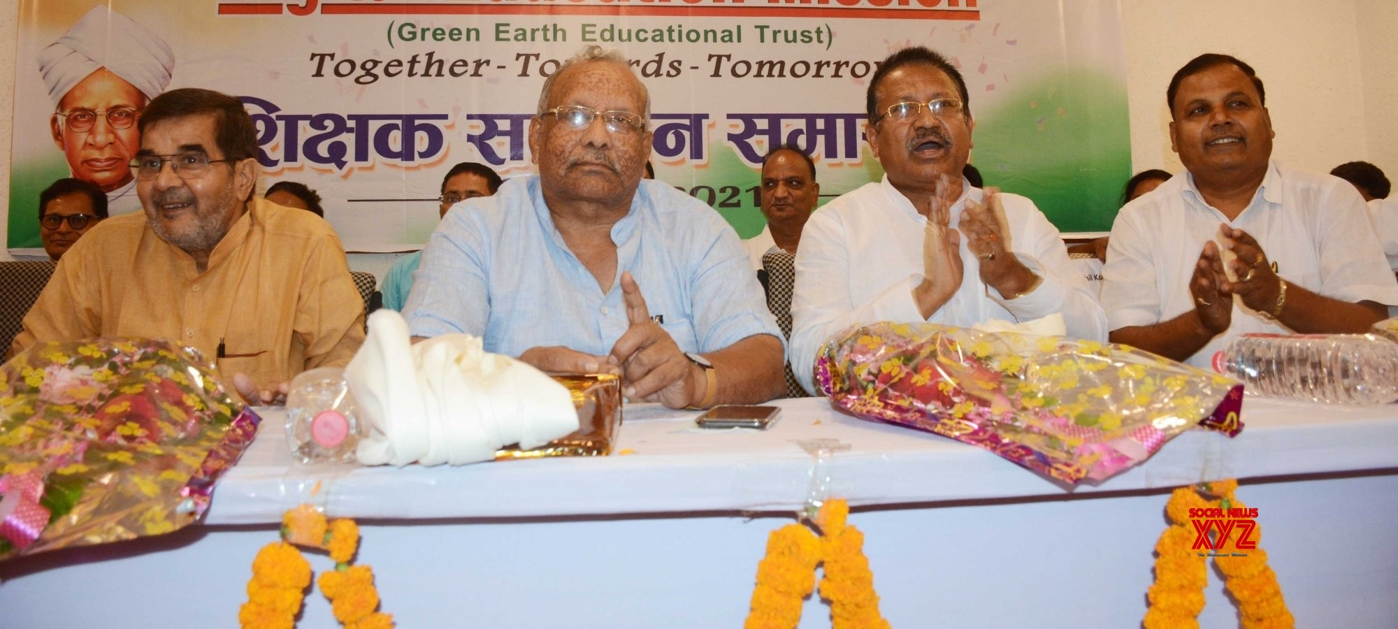 Patna: Bihar Deputy Chief Minister Tarkishore Prasad along with others during the teacher's honor ceremony at Vidyapati Bhavan in Patna. #Gallery