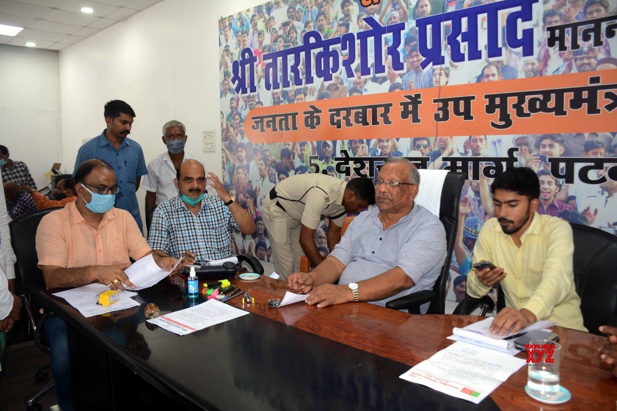 Patna: - BJP leader and Deputy Chief Minister Tarkishore Prasad - during the Janta Darbar in Patna #Gallery