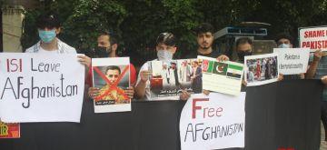 New Delhi: Afghan citizens protest against Pakistan in New Delhi on Tuesday, September 14, 2021. (Photo: Anupam Gautam/IANS)
