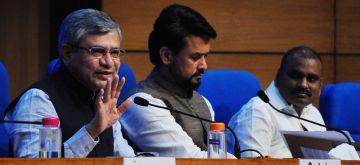 New Delhi: Union Ministers Anurag Singh Thakur and  Ashwini Vaishnaw brief the press on Cabinet decisions at National Media Centre in New Delhi, 15 September, 2021.(Photo: Qamar Sibtain/IANS)