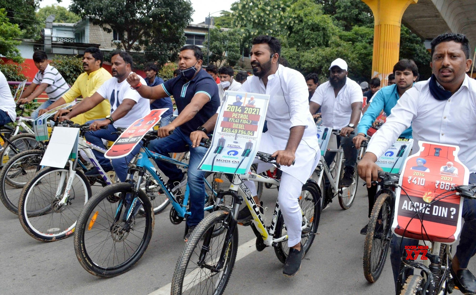 Members of KPCC Youth Congress led by National Youth Congress President BV Srinivas take part in a cycle rally to protest against hike in Fuel and LPG price #Gallery