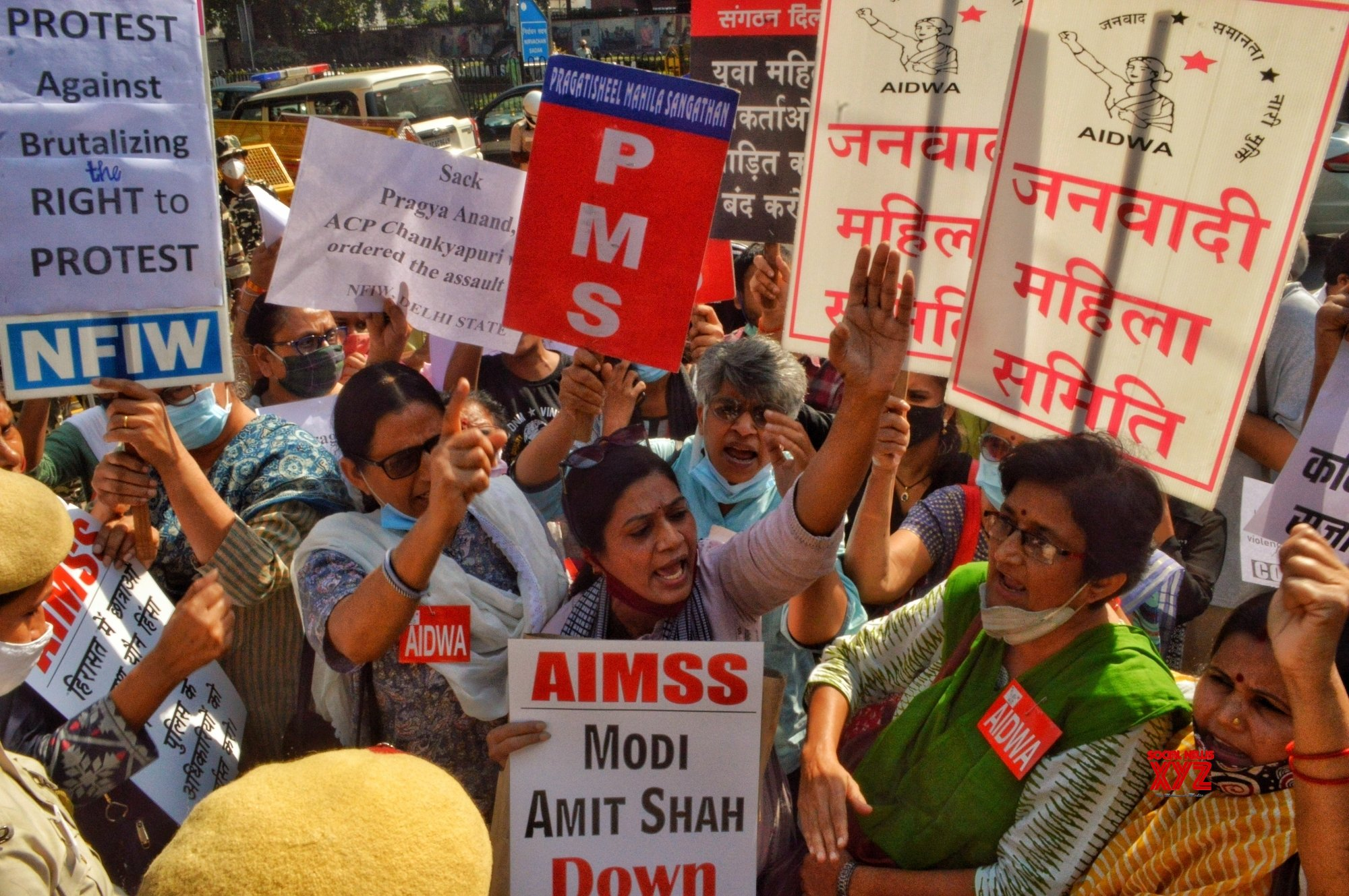 New Delhi : - Members of AISA with Others Organization stage protest against Delhi Police Outside the PHQ #Gallery