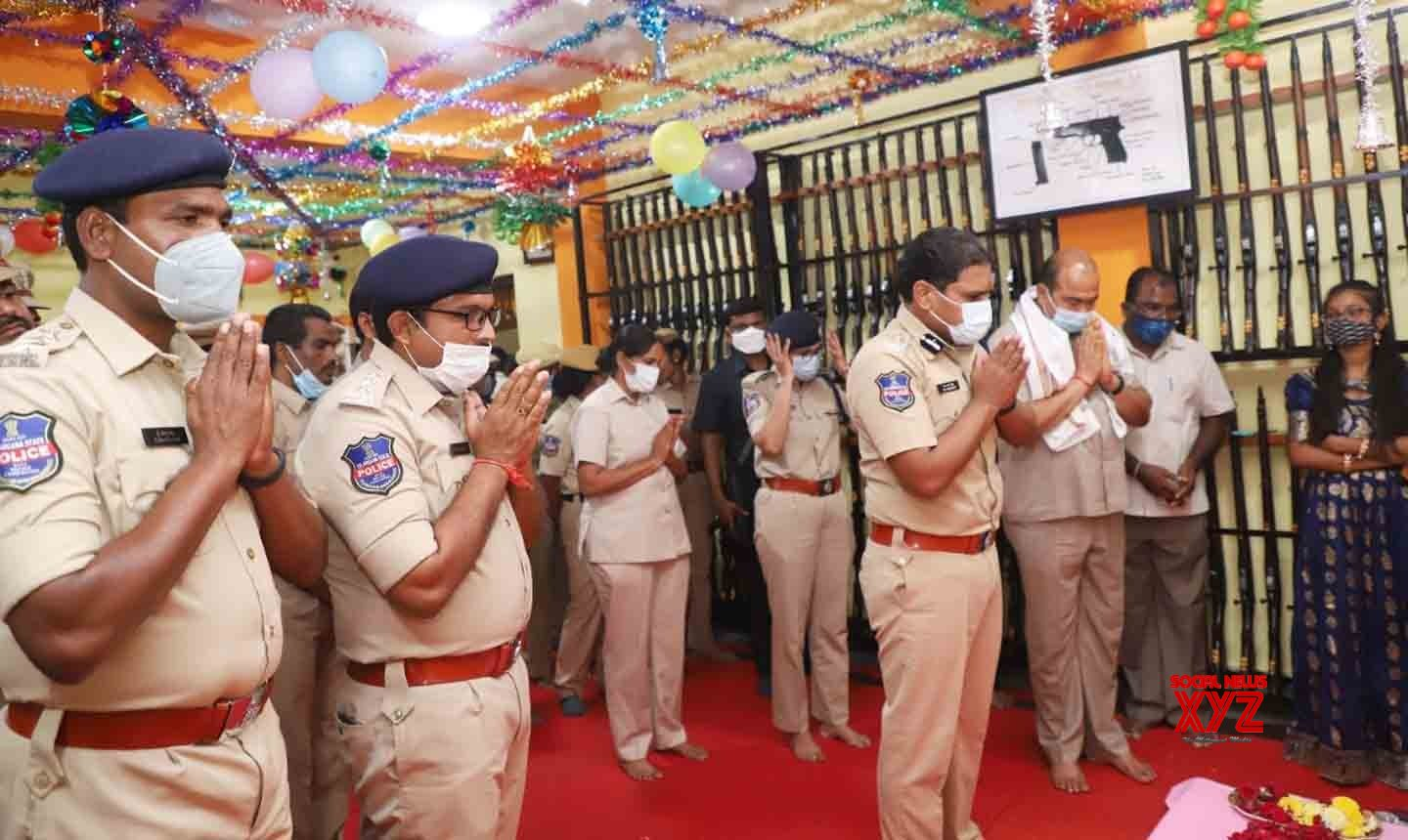 Hyderabad:Cyberabad Police observed Ayudha Puja and celebrated Navratri festival at the Commissioner's office #Gallery