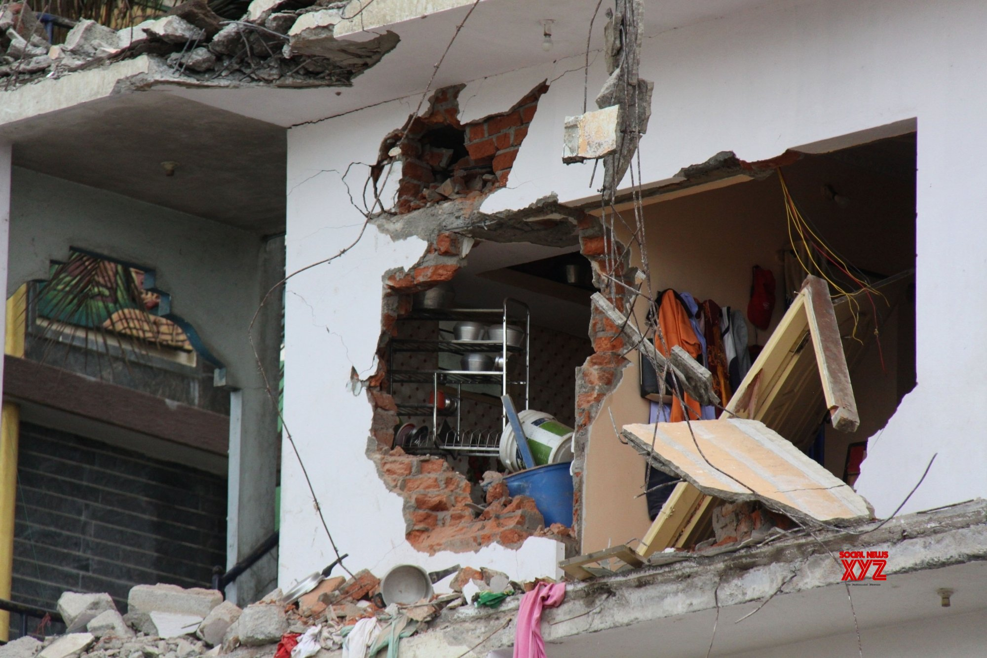 Two storey residential building at NGO Colony in Kamala Nagar, collapsed in front of the grieving residents and onlookers #Gallery