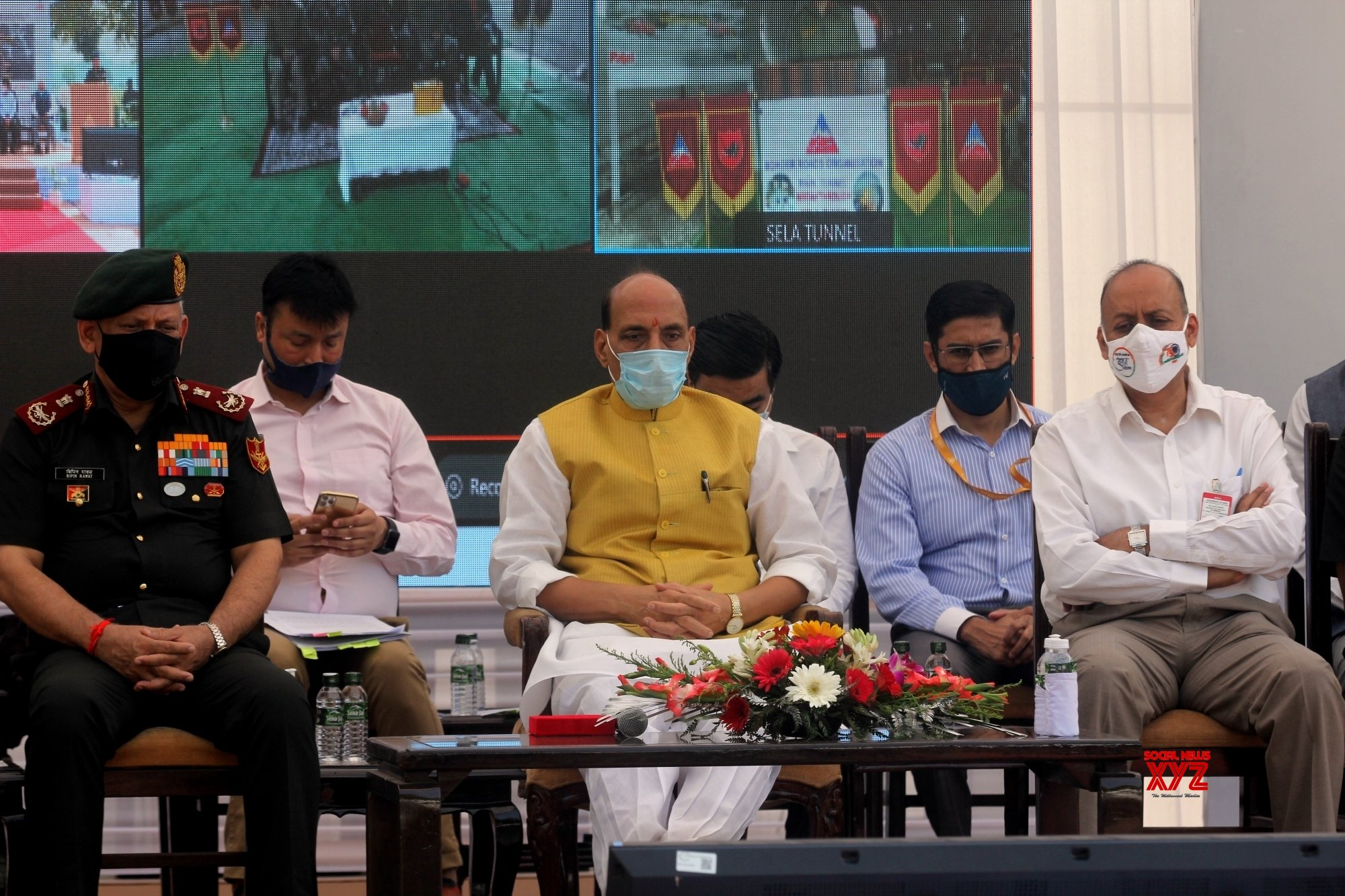 New Delhi:Union Defence Minister Rajnath Singh during flag off ceremony of the Border Road Organization (BRO) Motorcycle Expedition #Gallery