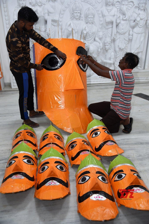 :Lucknow :Artists giving finishing touches on an effigy of Ravana on the eve of Vijayadashami celebrations at Aishbagh Ram Leela Ground #Gallery