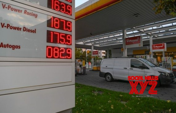 Photo taken on Oct. 8, 2021 shows a gas station in Frankfurt, Germany #Gallery