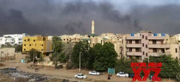Photo taken on Oct. 25, 2021 shows black smoke in the sky over the Sudanese capital of Khartoum amid reports about a military coup. (Xinhua/IANS)