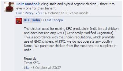 Customer reply by KFC