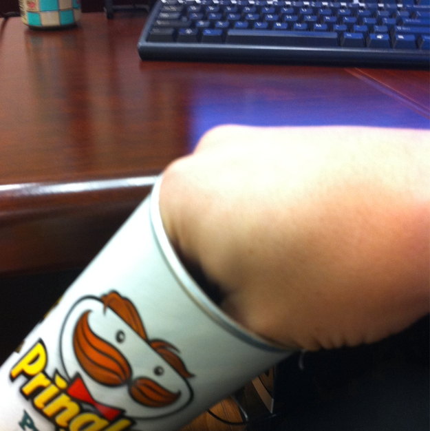 Can't get hand into pringles!