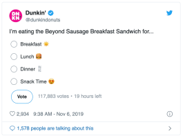 dunkin donuts product launch poll
