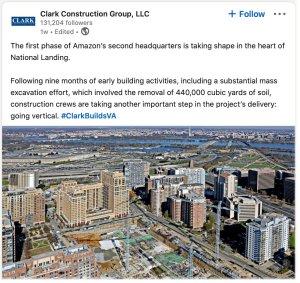 Clark Construction social media post example