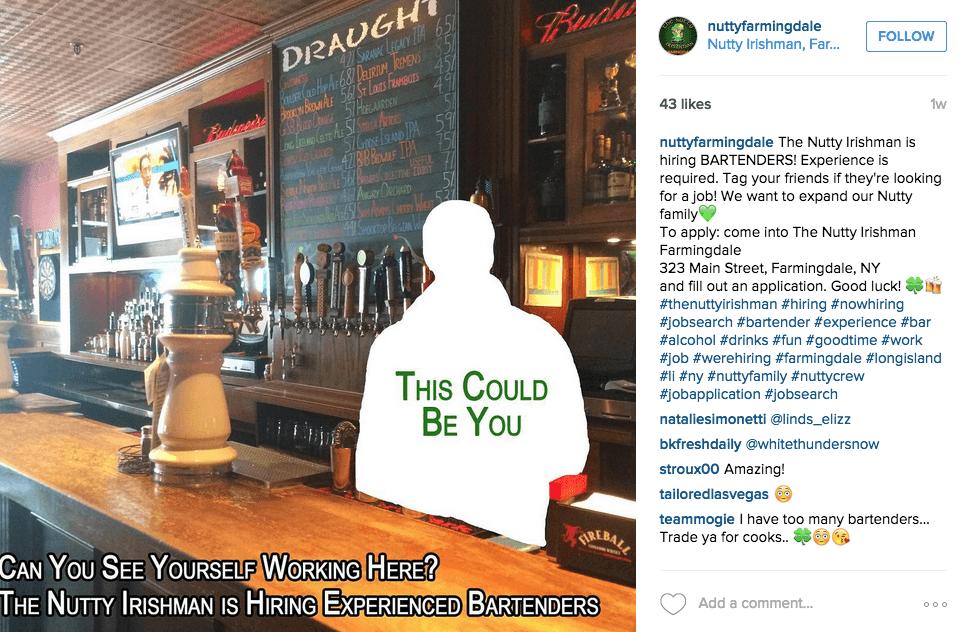 kreative Instagram Stellenanzeigen von Nutty Irishman Bar
