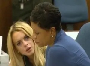 Lindsay Lohan in court with attorney Shawn Holley