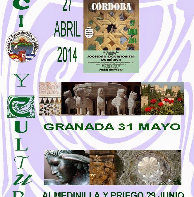 Próximas excursiones culturales abril, mayo y junio 2014
