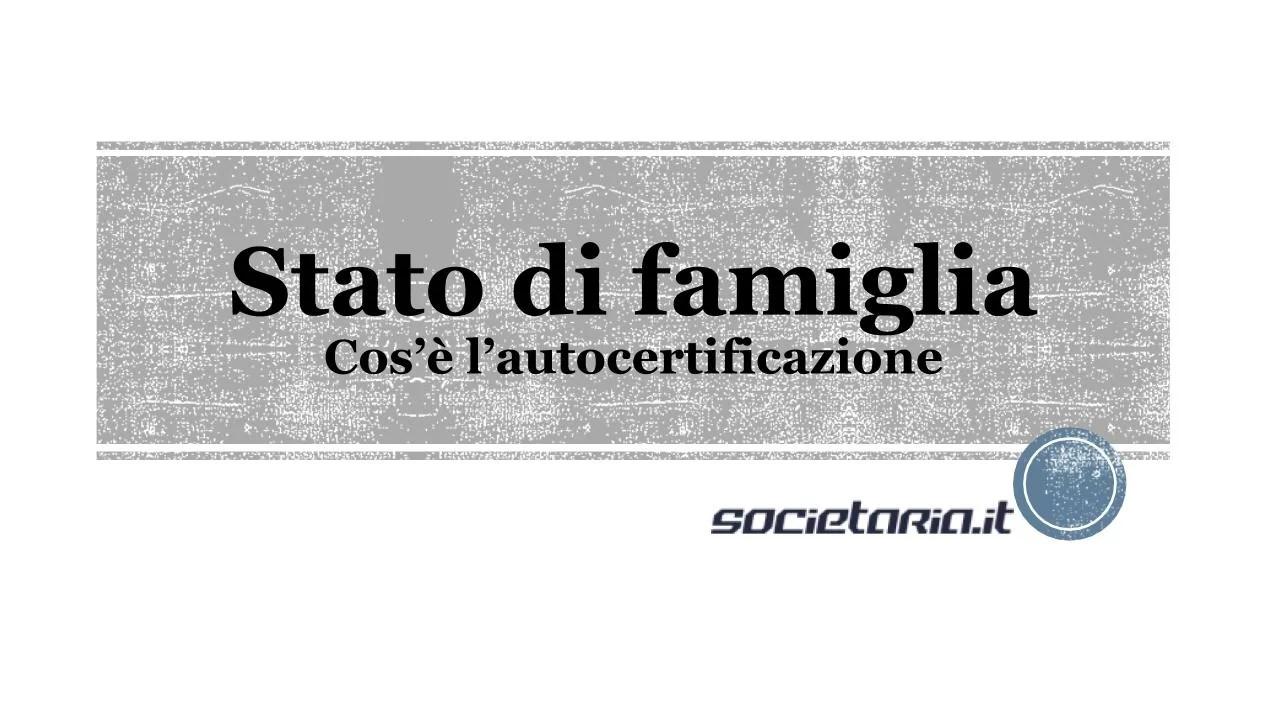 Autocertificazione Stato Di Famiglia Modulo Dichiarazione
