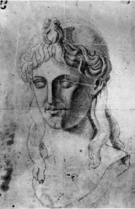 C0073 Dessin à partir d'un moulage en plâtre d'un buste sacré antique 58-60