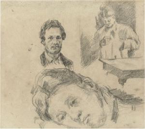 C0398 Page d'études avec Mme Cézanne cousant 77-80