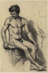 CS1865-67 Modèle assis-Homme nu 65-67