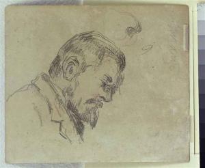CS1882-85 A Portrait d'Emile Zola, tête d'homme barbu 82-85