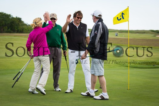 Ann Liguori's Foursome Celebrating a Birdie on the 13th Hole