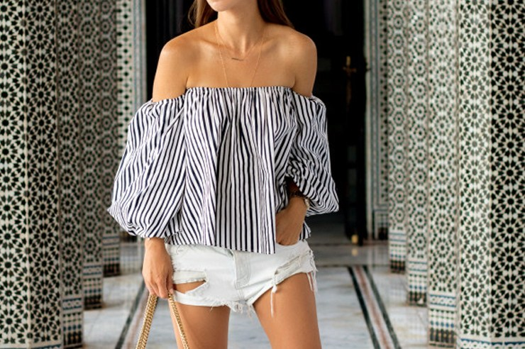 Off the shoulder tops are having a moment this season. Whether you prefer bardot, striped, ruffle, white or black, you need an off the shoulder top!
