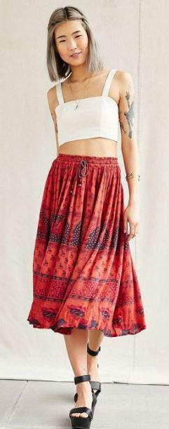 boho uo renewal vintage overdyed midi skirt