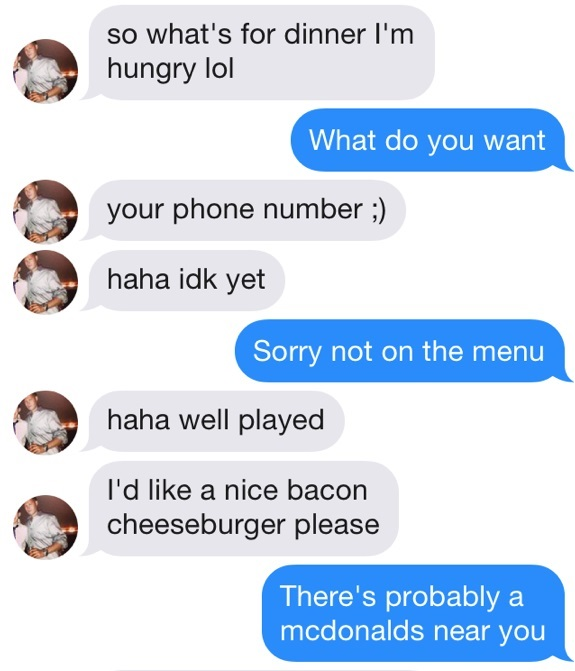 Funny Tinder Messages - Not on the meny