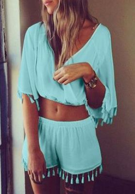 Summer-Fashion-Trends Blue Top and Short Co-Ord Set