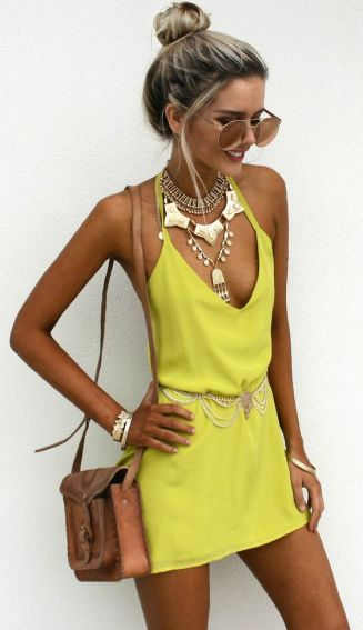 This yellow dress is perfect with this gold statement necklace!
