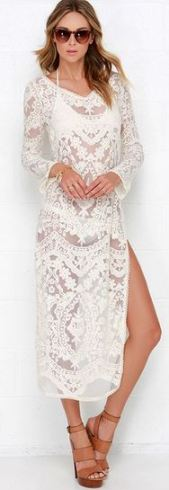 Lulus Cassiopea Cream Lace Cover-Up