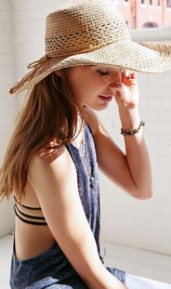 Urban Outfitters Kimchi Blue Open Weave Floppy Straw Hat