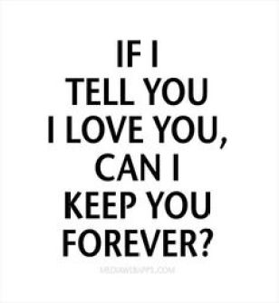 If I tell you I love you, can I keep you forever?
