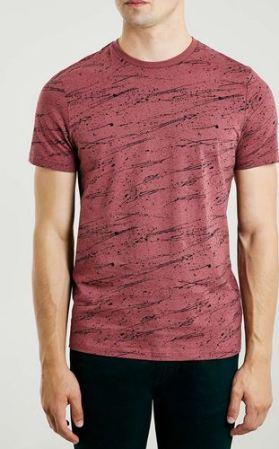 Burgundy T-Shirt With Black Splat Print