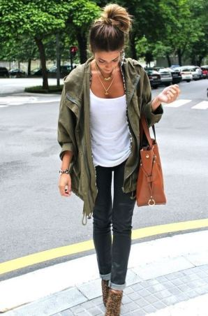 Style your military jacket with a white t-shirt