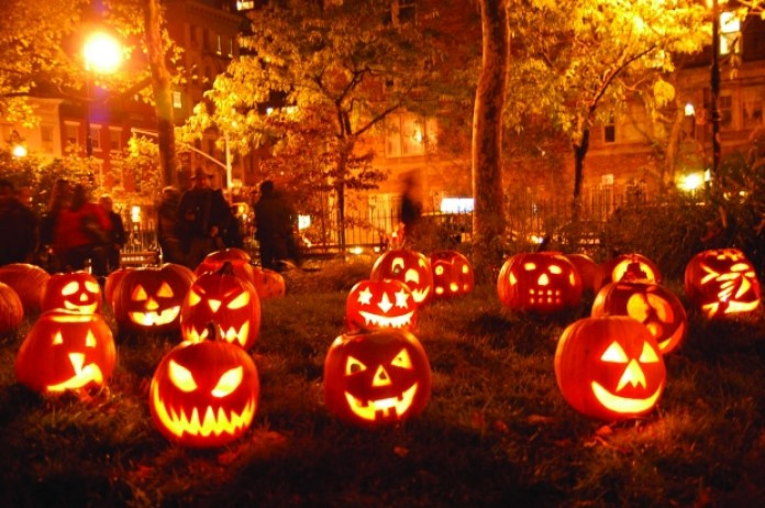 glowing pumpkins all over campus