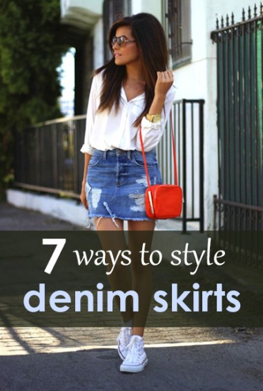 7776175ee 7 Ways to Style Your Denim Skirt All Year Long - Society19