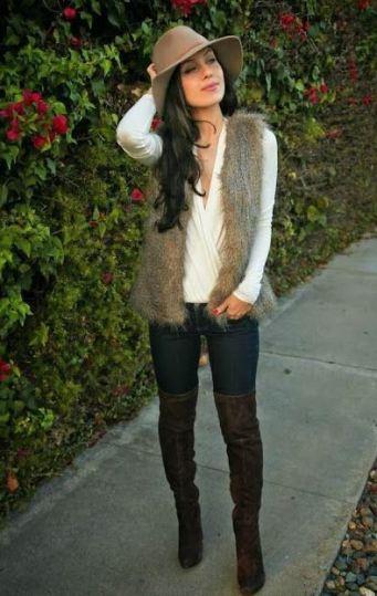 A fur vest keeps you warm and stylish.
