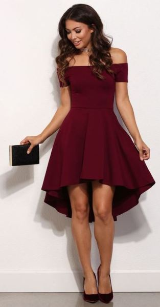 This off the shoulder dress is gorgeous for the holiday!