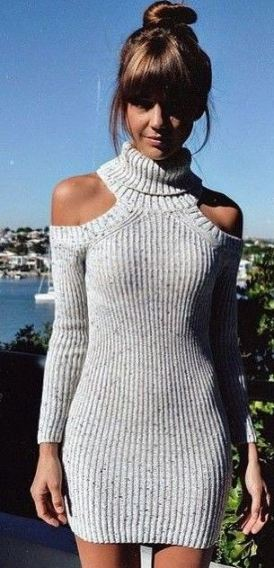 This knit sweater dress is the perfect holiday outfit or party outfit!